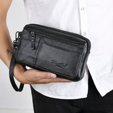 High Quality Men's Business Clutch Wallet Real Leather Wrist Money Bags