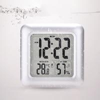 Clock Large Screen LCD Display Hygrometer Thermometer Waterproof Shower Bathroom Square