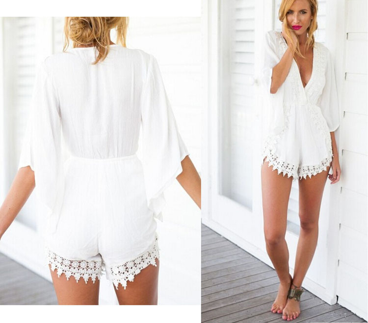 2018 Hot Sale Summer Women Casual Loose White Lace Floral V Neck