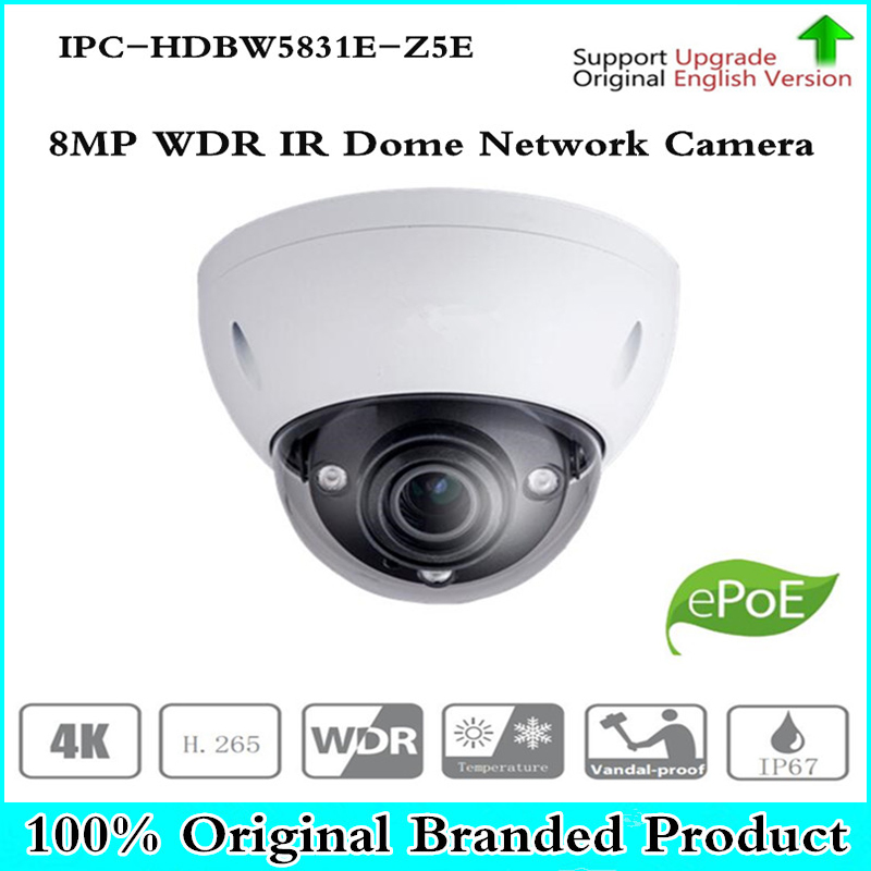 DH Original 8MP WDR IR 100M Dome Network Camera 7mm ~35mm 5X zoom lens with POE+ ICR IPC-HDBW5831E-Z5E Free shipping