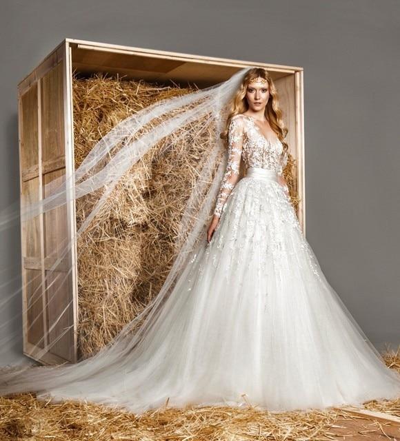 2016 zuhair murad vintage modest sheer vestido de novia sheer cuello