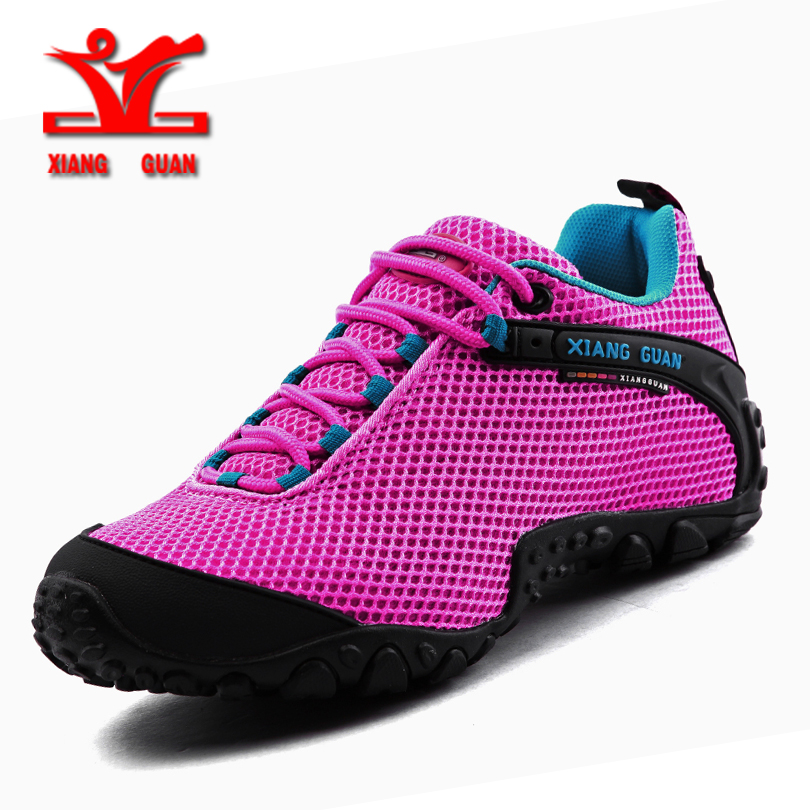 XIANGGUAN women Hiking Shoes Breathable Mesh Shoes Outdoor sports shoes Slip resistant Wear Sneakers zapatillas deportivas mujer bmai mens running shoes mesh breathable anti slip outdoor sport sneakers stability shoes zapatillas deportivas hombre for men