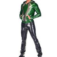 Латексанзуг форма зентай топы и брюки латекс Gummi Металлический Зеленый Капюшон костюм 0,4 мм s xxl