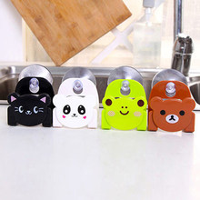 Cute Cartoon Bear Wall Mounted type Bath Storage Box Animal Cat Soap bar Holder Kitchen Tools Sponge Drain Shelf Bag(China)