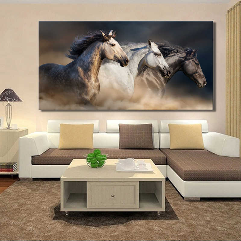 70x140cm-Modern Animals Posters and Prints Wall Art Canvas Painting Wall Decoration Three Robust Horses Pictures for Living Room