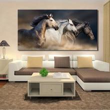 Affiches et imprimés d'animaux modernes, 70x140cm, toile d'art mural, peinture murale, trois chevaux robustes, images pour salon, décoration