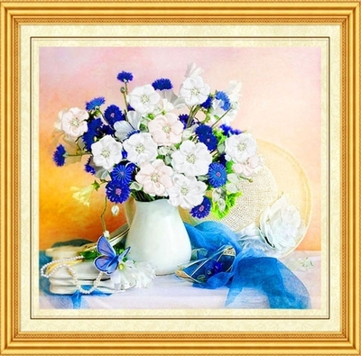 Vyšívání, DIY Stuha křížová sada Sady pro vyšívání kit, olej Vázy květina láska stuha Cross-Stitch handwork doprava zdarma