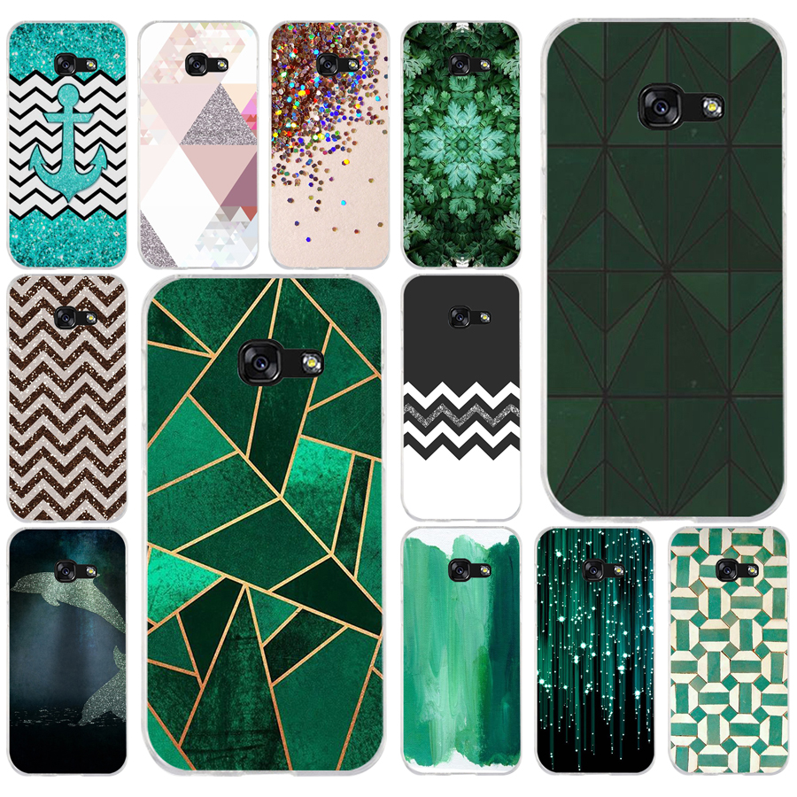 171AQ Beautiful Emerald Green glitter Soft Silicone Tpu Cover <font><b>phone</b></font> <font><b>Case</b></font> for <font><b>Samsung</b></font> <font><b>galaxy</b></font> <font><b>a3</b></font> a5 2016 <font><b>2017</b></font> a6 A8 2018 image
