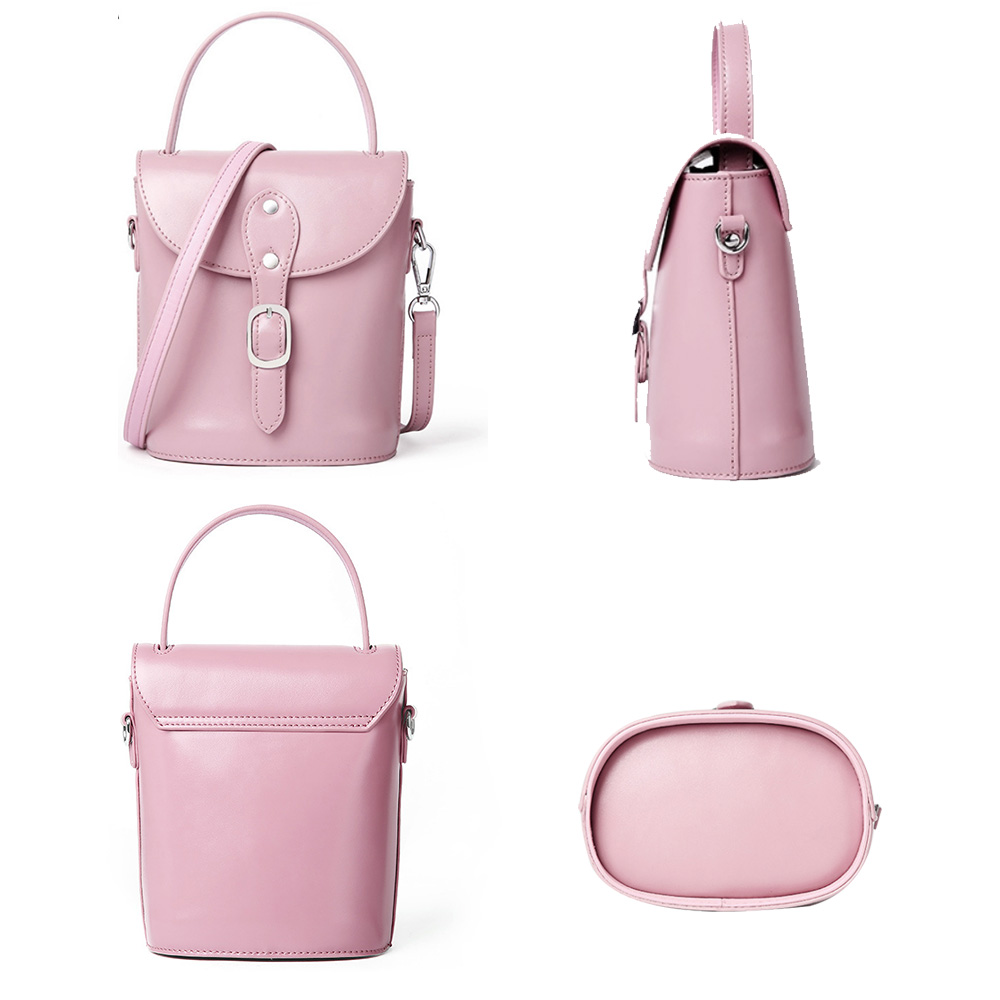 Genuine Leather Women Tote Bag Vintage Crossbody Messenger Purse Mini Bucket Handbag Black Flap