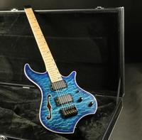 High Quality Semi Hollow Body Headless Electric Guitar 5A Quilted Maple Veneer Active Pickups EMG Pickups Fixed Bridge