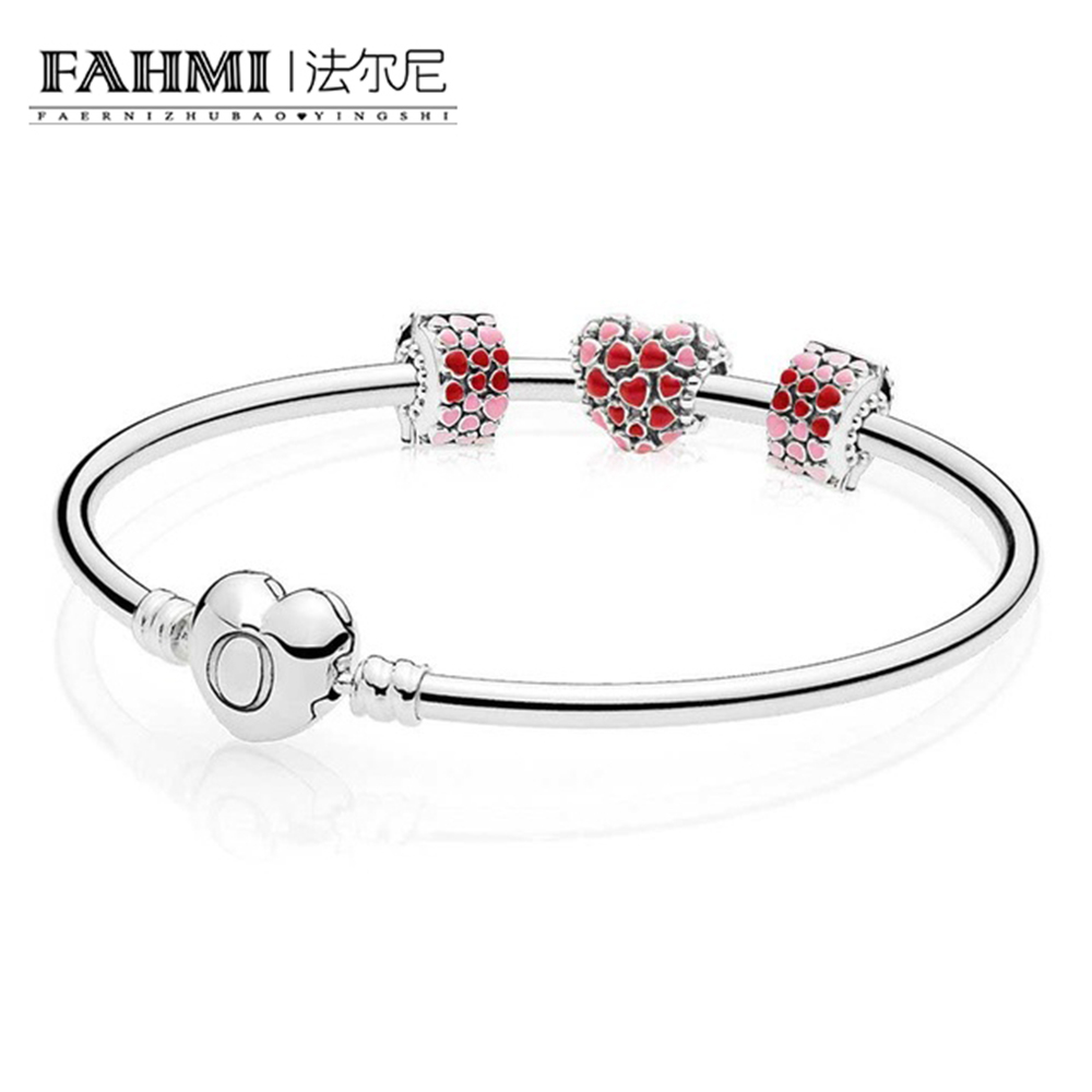 FAHMI 925 Sterling silver Burst of Lovers Jewelry Gift Set Clear CZ fit DIY Original charm Bracelets jewelry A set of pricesFAHMI 925 Sterling silver Burst of Lovers Jewelry Gift Set Clear CZ fit DIY Original charm Bracelets jewelry A set of prices