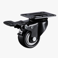 2 Inch Omni Directional Black Wheel With Brake Furniture Silent Caster Wheel