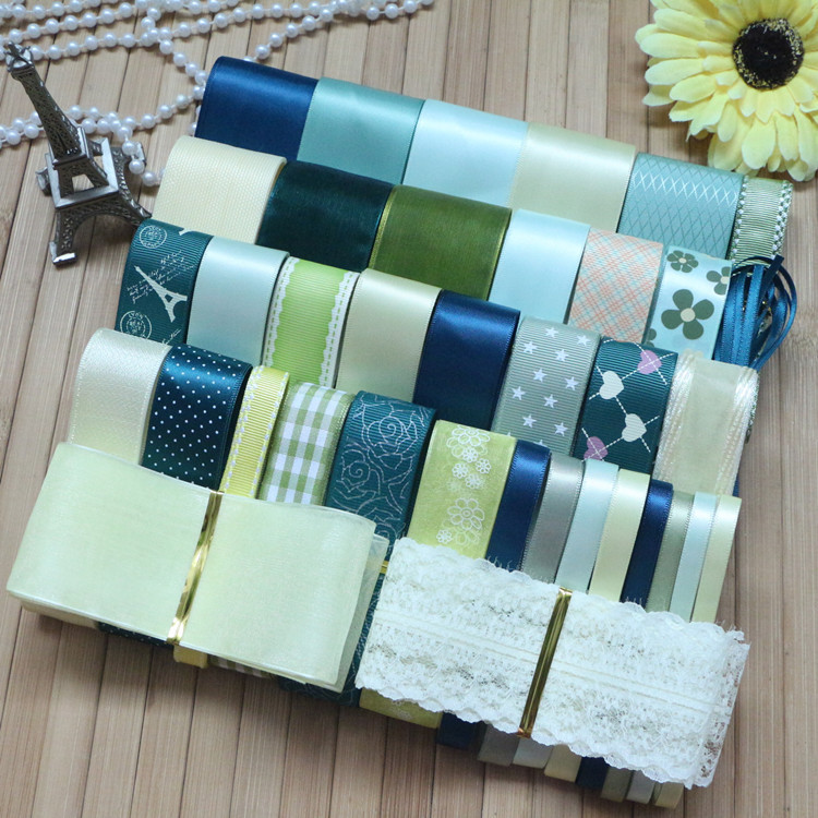 NEW STYLE DIY ribbon sent yellow green color mix DIY ribbon set total 38 yards