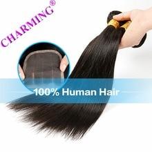 Charming Brazilian Straight Hair 2 Bundles With Closure Unprocessed Virgin Hair Cheap Human Hair Brazilian Hair Extension