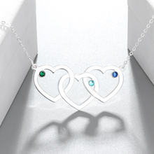 Triple Heart  Birthstone Necklace With Name Engraving