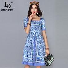 Knee-Length Dress Short-Sleeve Fashion Runway Vintage Blue Casual Vestidos Printed White