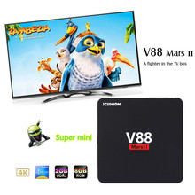SCISHION V88 Mars II Android 6.0 TV Box Quad-core Cortex-A7 WiFi Max 2G 16G Mini PC HDMI 2.0 100M LAN 32Bit H.265 Media Player