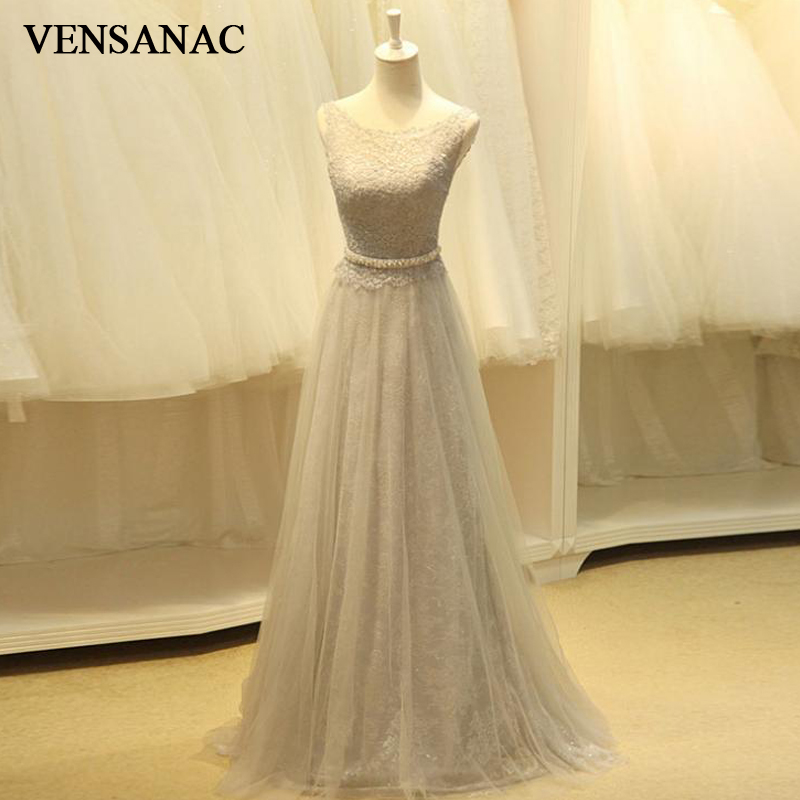 VENSANAC 2018 A Line Sequined O Neck Crystal Sash Long   Evening     Dresses   Elegant Party Lace Embroidery Prom Gowns
