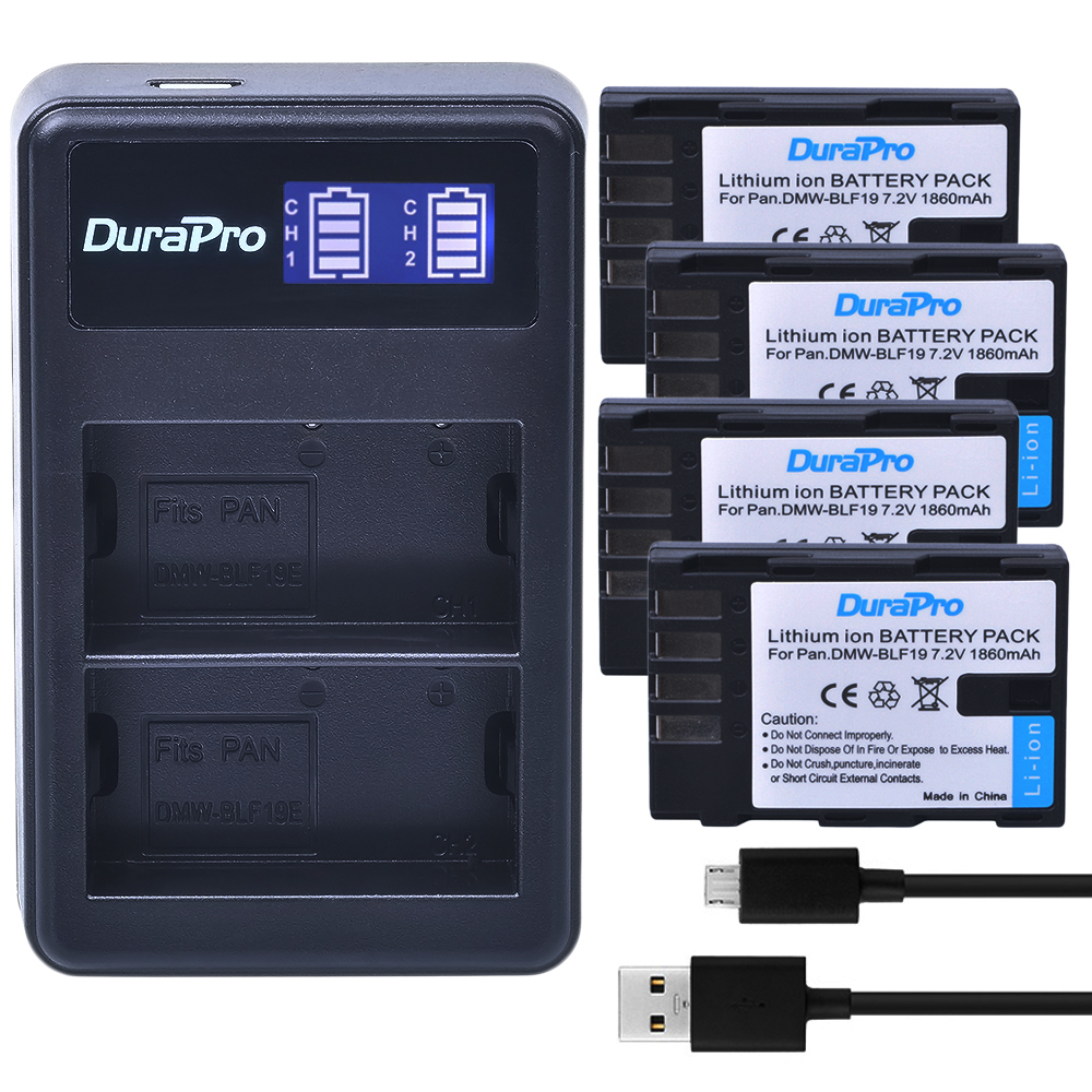 4pc DMW-BLF19 DMW BLF19 Rechargeable Li-ion Battery +LCD Dual USB Charger for Panasonic Lumix DMC-GH3 DMC GH3 GH4 DMC-GH4 Camera