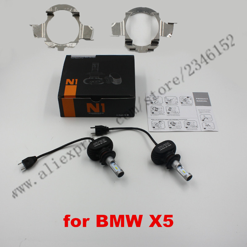 ФОТО All in one N1 H7 led headlight head lamp kit with adapter for BMW X5