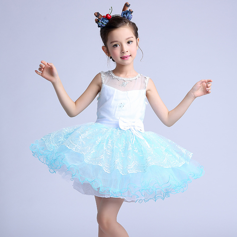 Formal Weddings Flower Girls's Dresses Children Layered White Blue Girl Vestidos 2017 Fancy Kids Clothes for 10 Years AKF164093