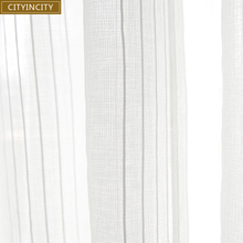 CITYINCITY White Curtain For living room Jacquard Voile Fresh Stripe Sheer Tulle Curtains For Kitchen and