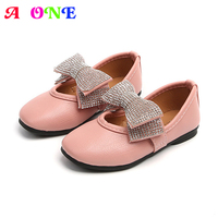Spring Summer baby glove shoes girls shoes kids princess shoes children flats shoes Faux crystal bow PU 1 to 12 yrs