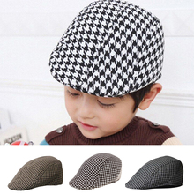 59e74a03358 Children Kids Peaked Country Cabbie Golf Hats Cotton Hound Tooth Beret Cap  Newsboy Flat Hat Fashion