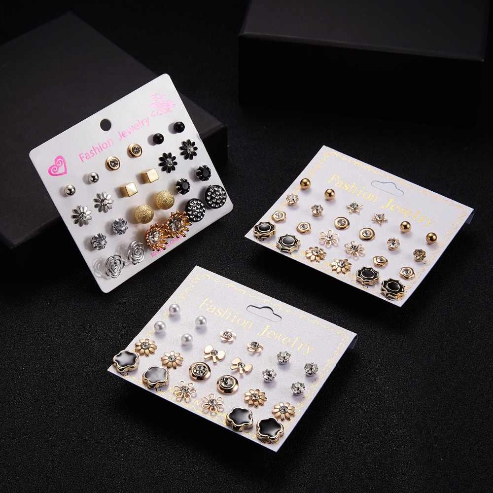 Women Trendy Stud Earrings Set With Card 12 Pairs/set Transparent Zircon Balls Love Flowers Card Earrings Piercing Jewelry