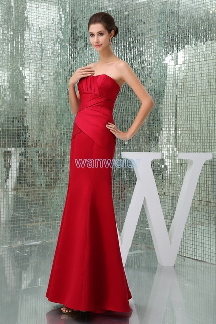 free shipping modest 2016 new design hot sale tube top pleat custom size  mermaid plus size gown beach long red Bridesmaid Dress b000f468d354