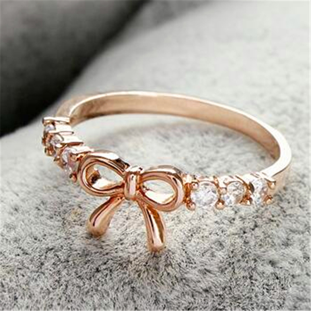 Gold Silver Color Bowknot Ring Design Cute Fashion Jewelry Ring