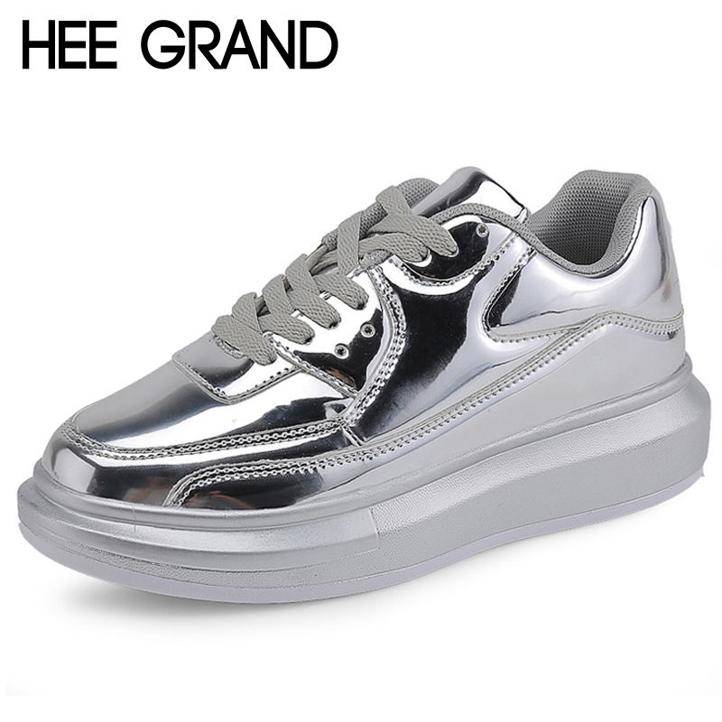 HEE GRAND Gold Silver Creepers Lace-Up Platform Loafers Casual Shoes Woman Patent PU Leather Slip On Flats Size 35-40 XWD6316 phyanic crystal shoes woman 2017 bling gladiator sandals casual creepers slip on flats beach platform women shoes phy4041