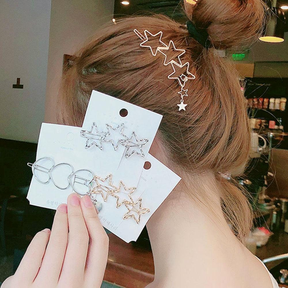 2019 New Fashion Barrette INS Korean Metal Hollow Hair Clips  Pentagram Hairgrip Animal Hairpin Women Bridal Hair Accessories
