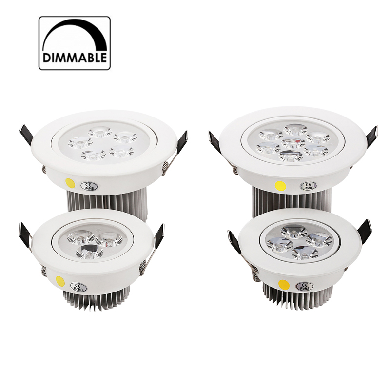 2pcs LED Downlight Dimmable 9W 12W 15W 21W items White shell lights for home Bathroom living room kitchen lighting