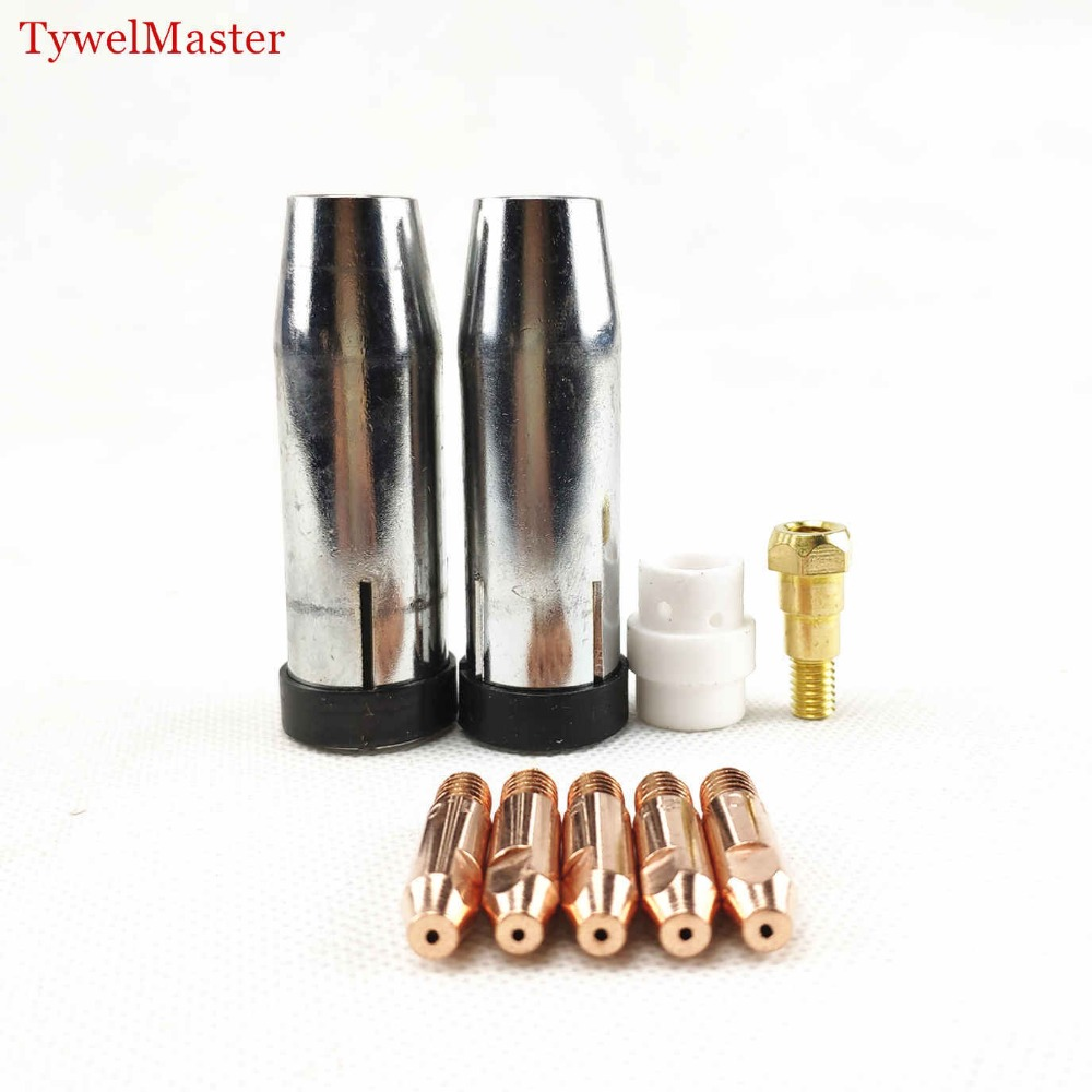 24KD Welding Torch Consumables 9pcs 0.8mm 1.0mm 1.2mm MIG Torch MB 24KD Gas Tip Holder Gas Diffuser Nozzle