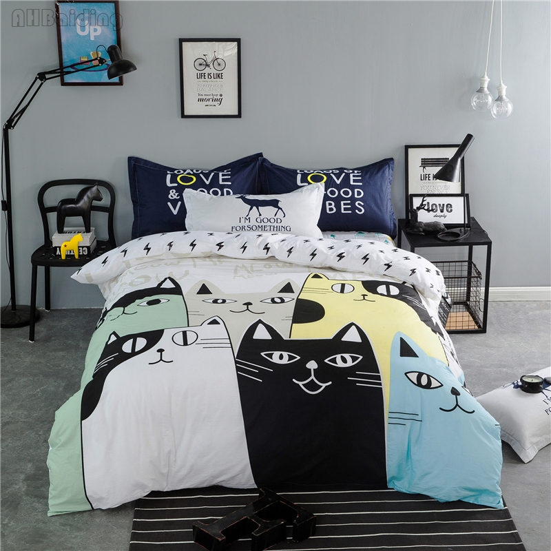 Children Cartoon Cats Printed Bedding Set 100% Cotton Cute Bed Linen Bedclothes 3/4pcs Sheet Pillowcase&duvet Cover Twin Queen