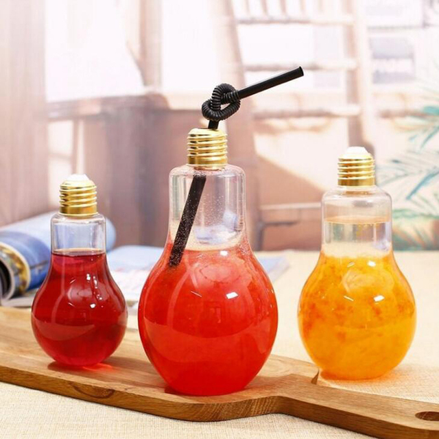 1 Pc Sippy Cups Creative Bottles Milk Tea Shop Bulb Transparent Plastic Fruit Juice Bottle Lighting Lamps Cup Decoration 2