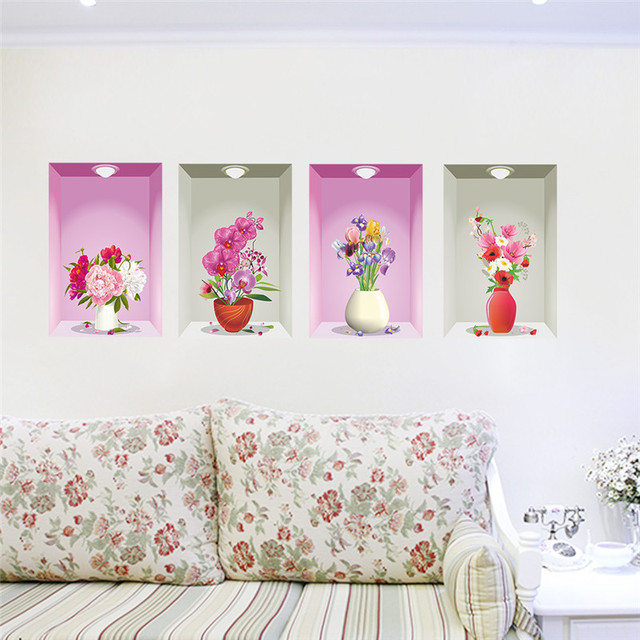 flower vase floral wall stickers bedroom living room decoration 3d wall decals home decor poster picture - Room Decor 3d