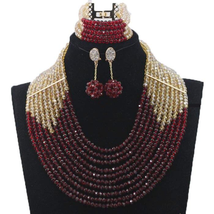 Derniers nouveaux invités de mariage perles africaines ensembles de bijoux Engagement Dubai or collier ensemble chaud livraison gratuite HX233 - 6