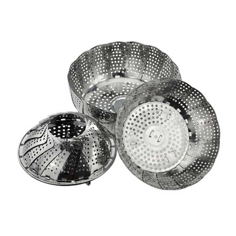 Cookware Stainless Steaming Basket Stainless Steamer Folding Food Fruit Vegetable Dish Steamer @