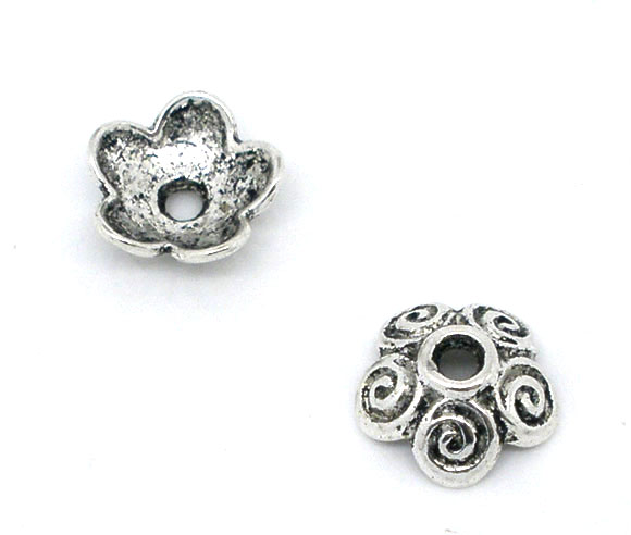 Zinc Metal Alloy Beads Caps Flower Antique Silver(Fits 12mm-18mm Beads)Pattern Pattern 10mm(3/8