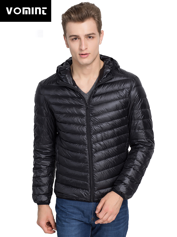 2019 Vomint Brand New Men's Fashion Warm Duck   Down   Jacket Thin Hooded Jacket Autumn Jacket Leisure Solid Color Ultralight   Coat