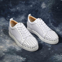 Men Leather Rivets Casual Shoes Low Top Spikes Metal Zipper Zapatos Hombre Cool Leisure Men Shoes White Round Toe Lace Up Shoes