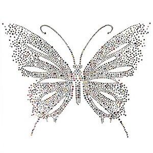 Цветной дизайн бабочки с горячей фиксацией горного хрусталя, передача тепла, шитье страз, украшение для одежды, обуви, свитера