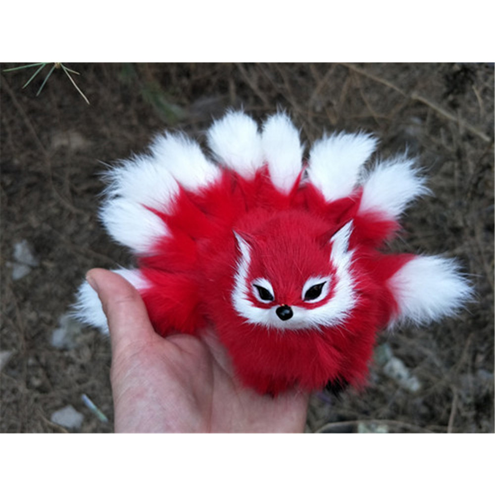 Fancytrader Lovely Nine-tails Fox Plush Toys Mini Realistic Red Brown Fox Animals Doll Decoration Props 10x7cm