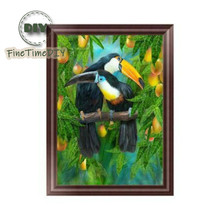 FineTime Parrots 5D DIY Diamond Painting Partial Round Drill Diamond Embroidery Animals Cross Stitch Mosaic Painting finetime 5d christmas cat diy animals diamond painting partial round drill diamond embroidery mosaic cross stitch
