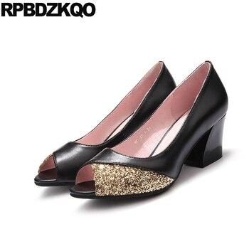 Schwarze Slingback Schuhe | Block Chunky 2018 Schwarz Größe 33 Medium Heels Frauen Peep Toe Slingback Pailletten Sandalen Bling 4 34 10 42 Schuhe Glitter Sommer Plus