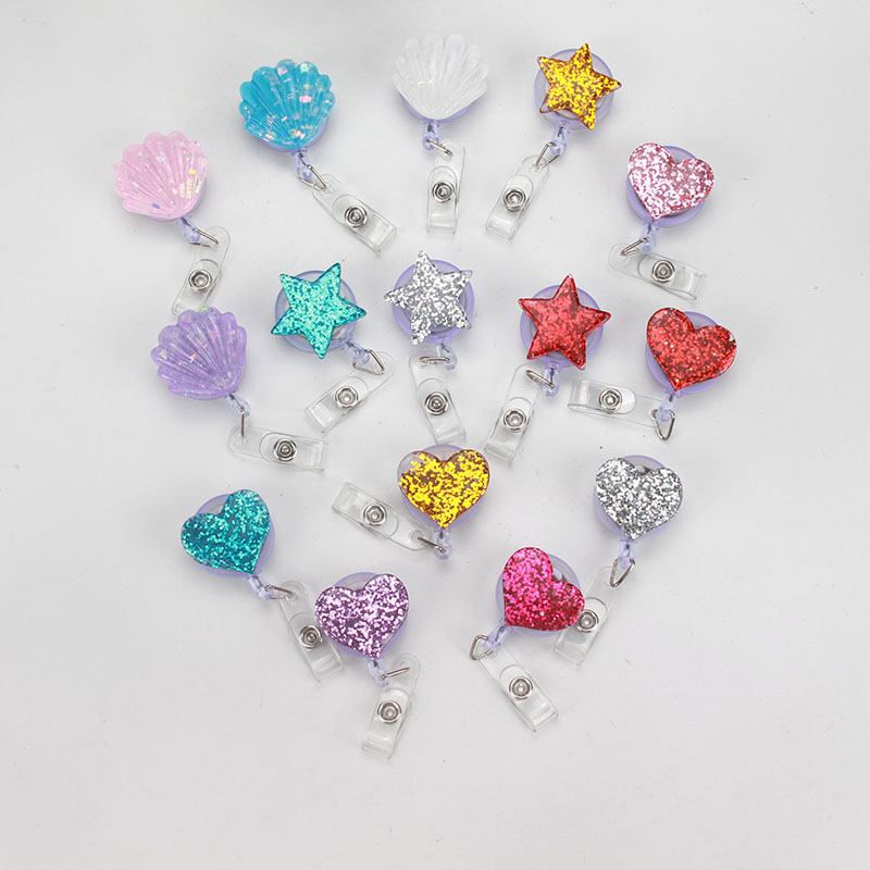 Resin Lovely Heart Shell Design Nurse Retractable Badge Reel Pull ID Card 3D Badge Holder Belt Clip Hospital School Office K151