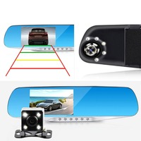 Night Vision Car Dvr Detector Camera Blue Review Mirror DVR Digital Video Recorder Auto Camcorder Dash Cam FHD 1080P X2