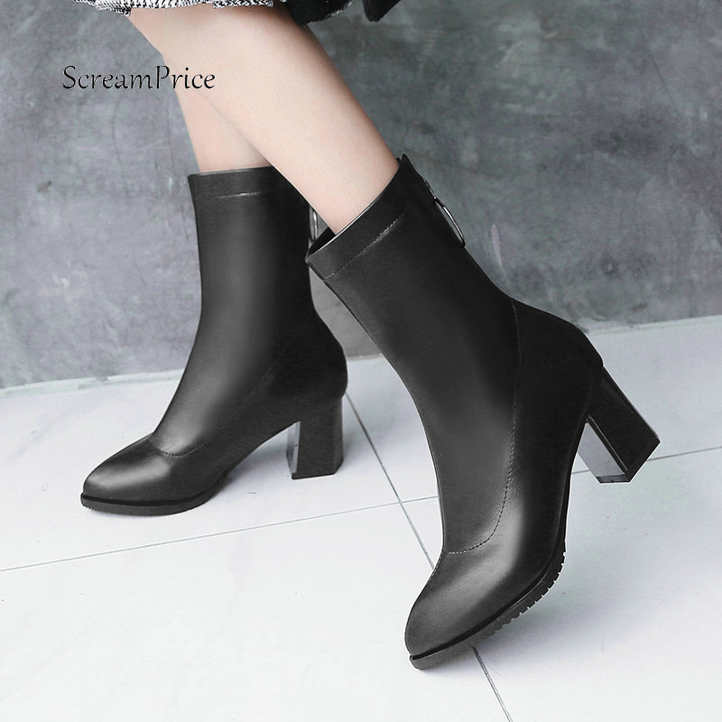 0e3f6a08adcd Women PU Leather Comfort Thick Heel Ankle Boots Fashion Zipper Booties  Ladies Pointed Toe Fall Winter Shoes Black